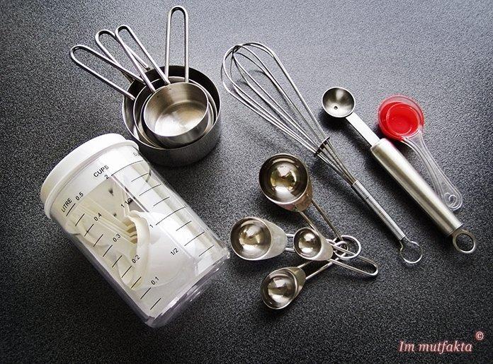 mutfak için ölçüler tablosu